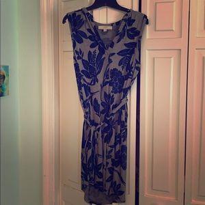 Loft navy & gray floral dress